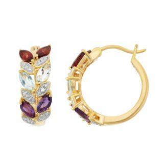 18k Gold Over Silver Gemstone Leaf Hoop Earrings