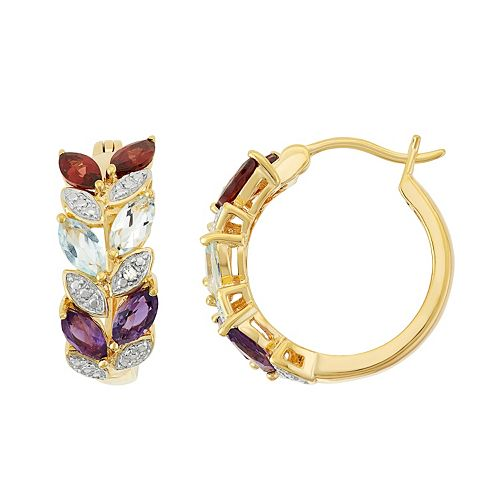 18k Gold Over Silver Gemstone Leaf Hoop Earrings