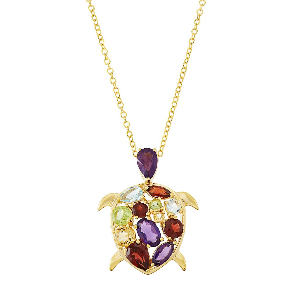 18k Gold Over Silver Gemstone Turtle Pendant