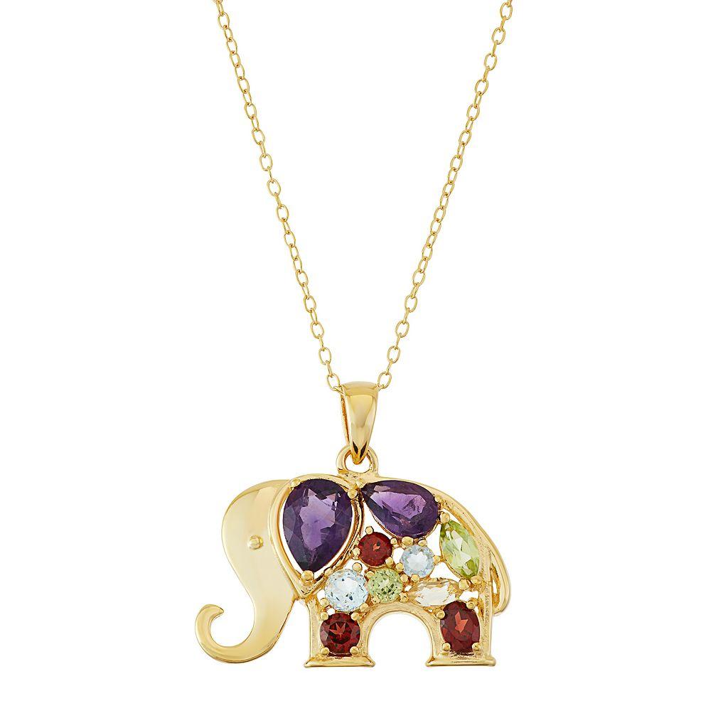 18k Gold Over Silver Gemstone Elephant Pendant