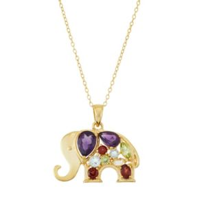 18k Gold Over Silver Gemstone Elephant Pendant