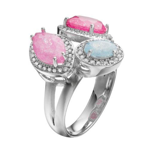 Sterling Silver Cubic Zirconia Multistone Halo Ring
