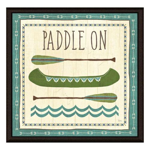 """Paddle On"" Canoe Framed Canvas Wall Art"