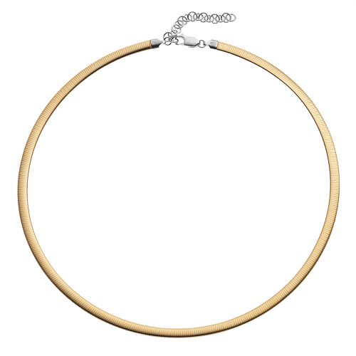 Two Tone Sterling Silver Reversible Omega Chain Necklace