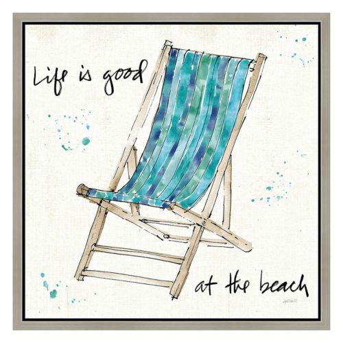 """Life is Good"" Chair Framed Canvas Wall Art"