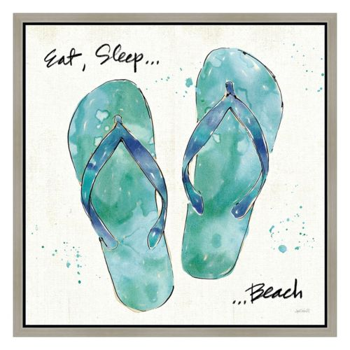 Eat, Sleep, Beach Sandals Framed Canvas Wall Art