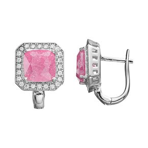 Sterling Silver Cubic Zirconia Square Halo Earrings