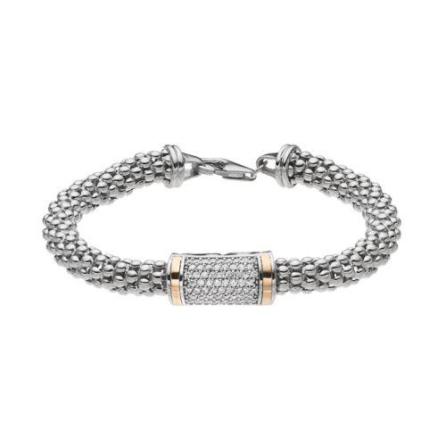 Sterling Silver & 14k Gold Cubic Zirconia Popcorn Chain Bracelet