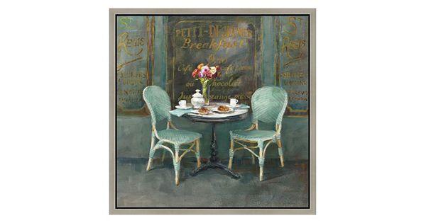 Vintage Paris Breakfast Table Framed Canvas Wall Art