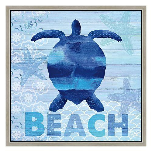 Beach Turtle Framed Canvas W...