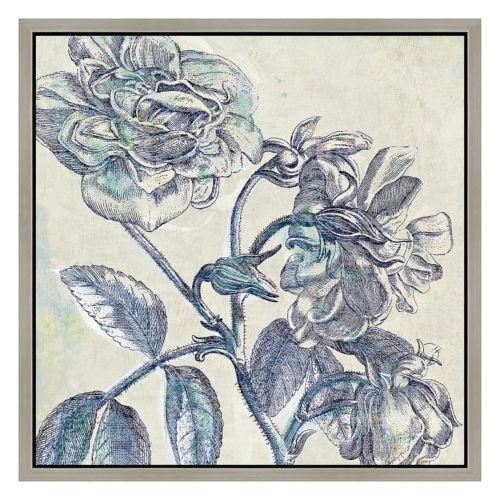 Blue Flowers I Framed Canvas Wall Art
