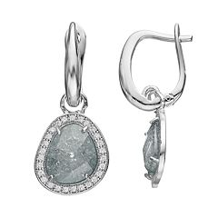 Sterling Silver Cubic Zirconia Teardrop Halo Earrings