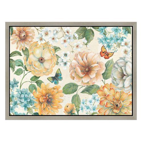 Flower Blossoms Framed Canvas Wall Art