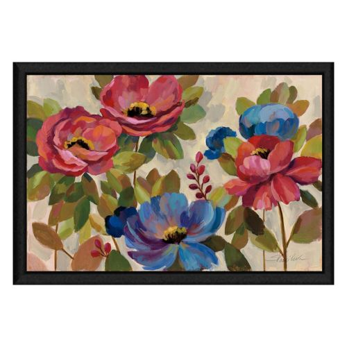 Pink and Blue Flowers Framed Canvas Wall Art