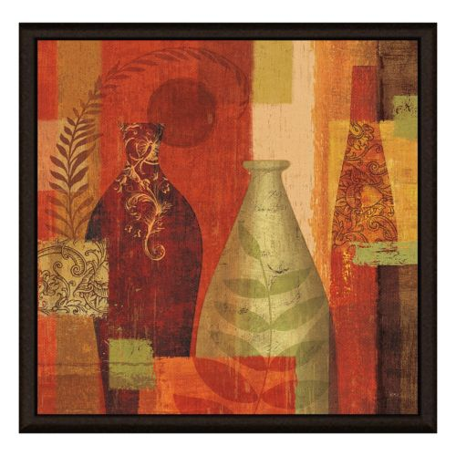 Vases On Red II Framed Canvas Wall Art