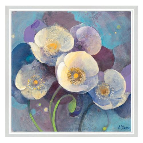 Whites On Purple Floral II Framed Canvas Wall Art