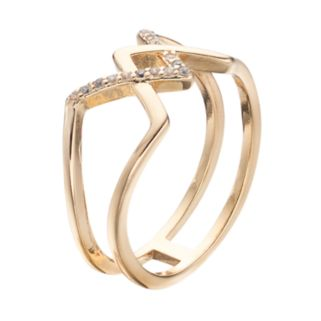 LC Lauren Conrad Pave Zigzag Open Ring