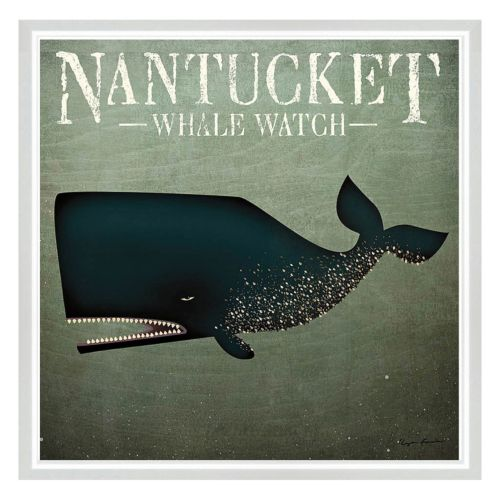 Nantucket Whale Framed Canvas Wall Art