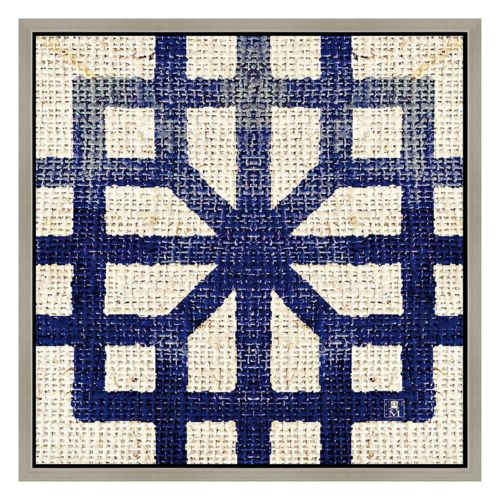 Blue Fabric II Framed Canvas Wall Art
