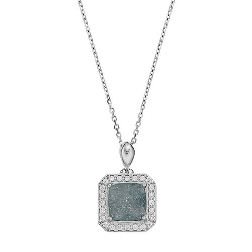 Sterling Silver Cubic Zirconia Square Halo Pendant