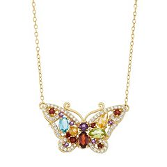 18k Gold Over Silver Gemstone Butterfly Necklace