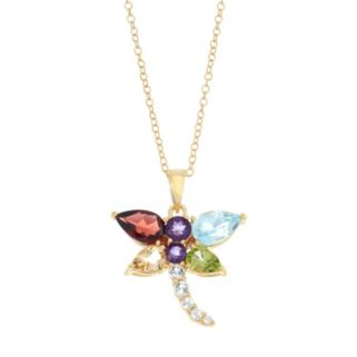 18k Gold Over Silver Gemstone Dragonfly Pendant Necklace