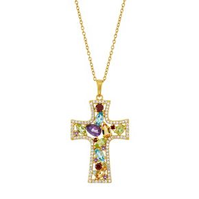 18k Gold Over Silver Gemstone Cross Pendant