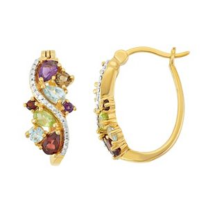 18k Gold Over Silver Gemstone Cluster U-Hoop Earrings