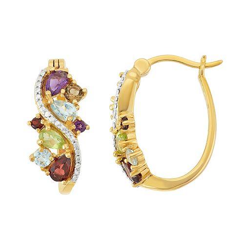 18k Gold Over Silver Gemstone Cluster U-Hoop Earrings