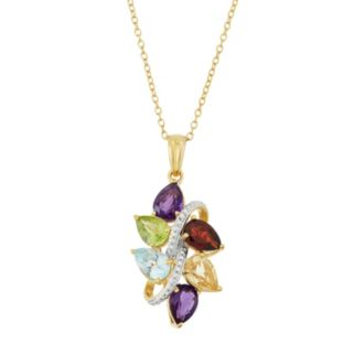 18k Gold Over Silver Gemstone & Diamond Accent Cluster Pendant