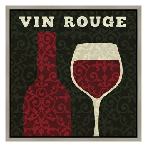 """Vin Rouge"" Wine Framed Canvas Wall Art"