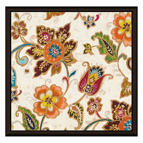 Gold Floral Decoration II Framed Canvas Wall Art
