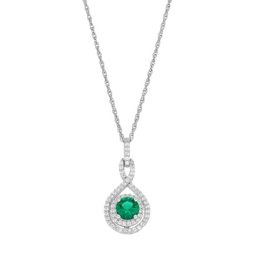 Sterling Silver Lab-Created Emerald & White Sapphire Halo Twist Pendant