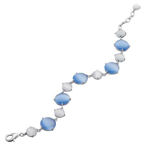 Sterling Silver Lab-Created Blue & Gray Cat's-Eye Bracelet
