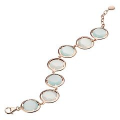 14k Rose Gold Over Silver Lab-Created Light Blue Cat's-Eye Bracelet