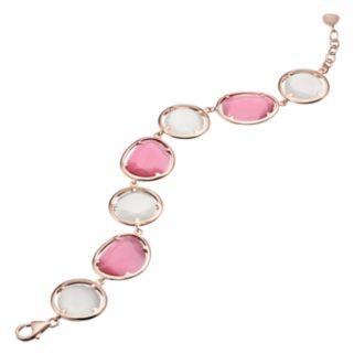 14k Rose Gold Over Silver Lab-Created White & Pink Cat's-Eye Bracelet