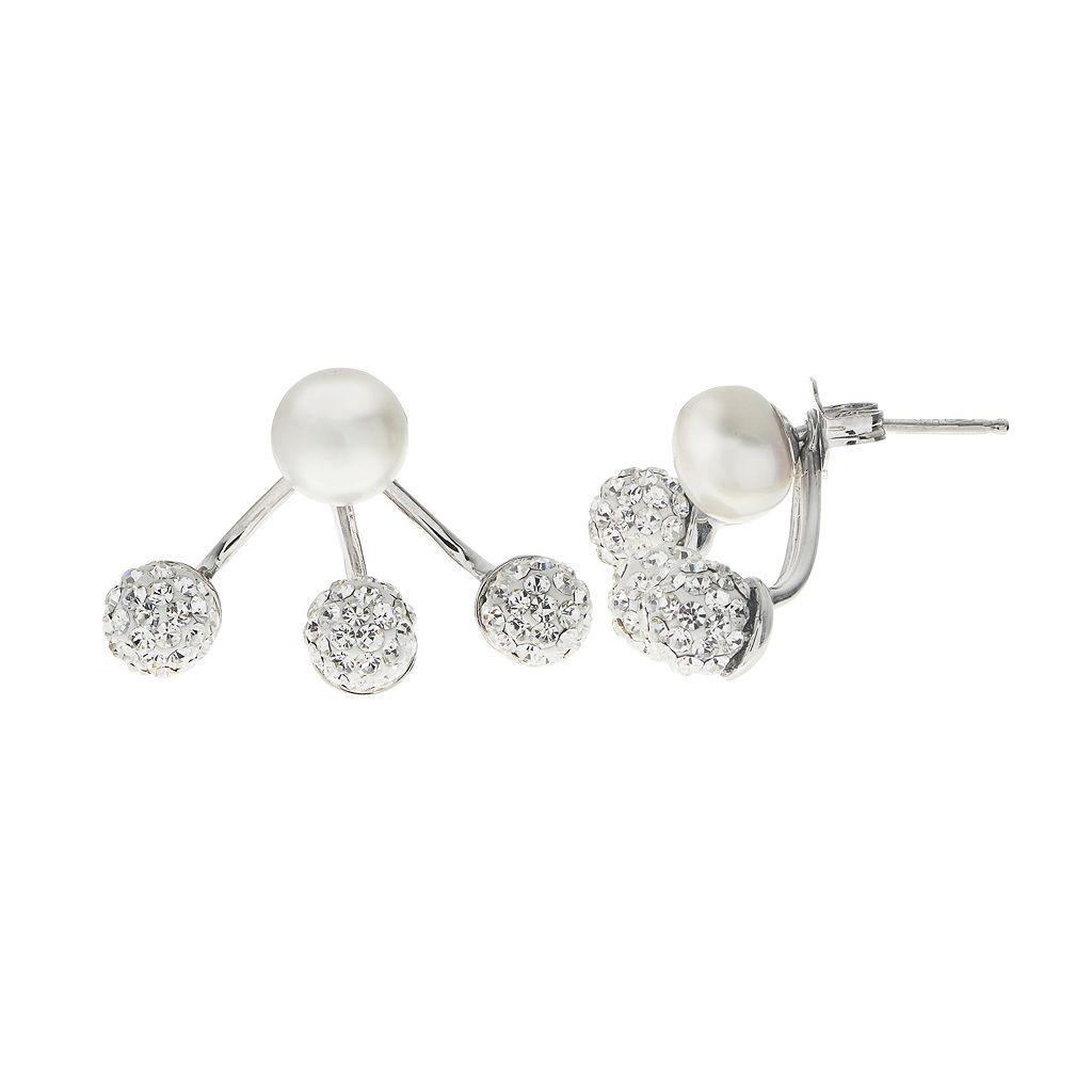 PearLustre by Imperial Freshwater Cultured Pearl & Crystal Ear Jacket Earrings