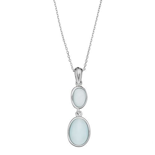 Sterling Silver Lab-Created Blue Cat's-Eye Pendant Necklace