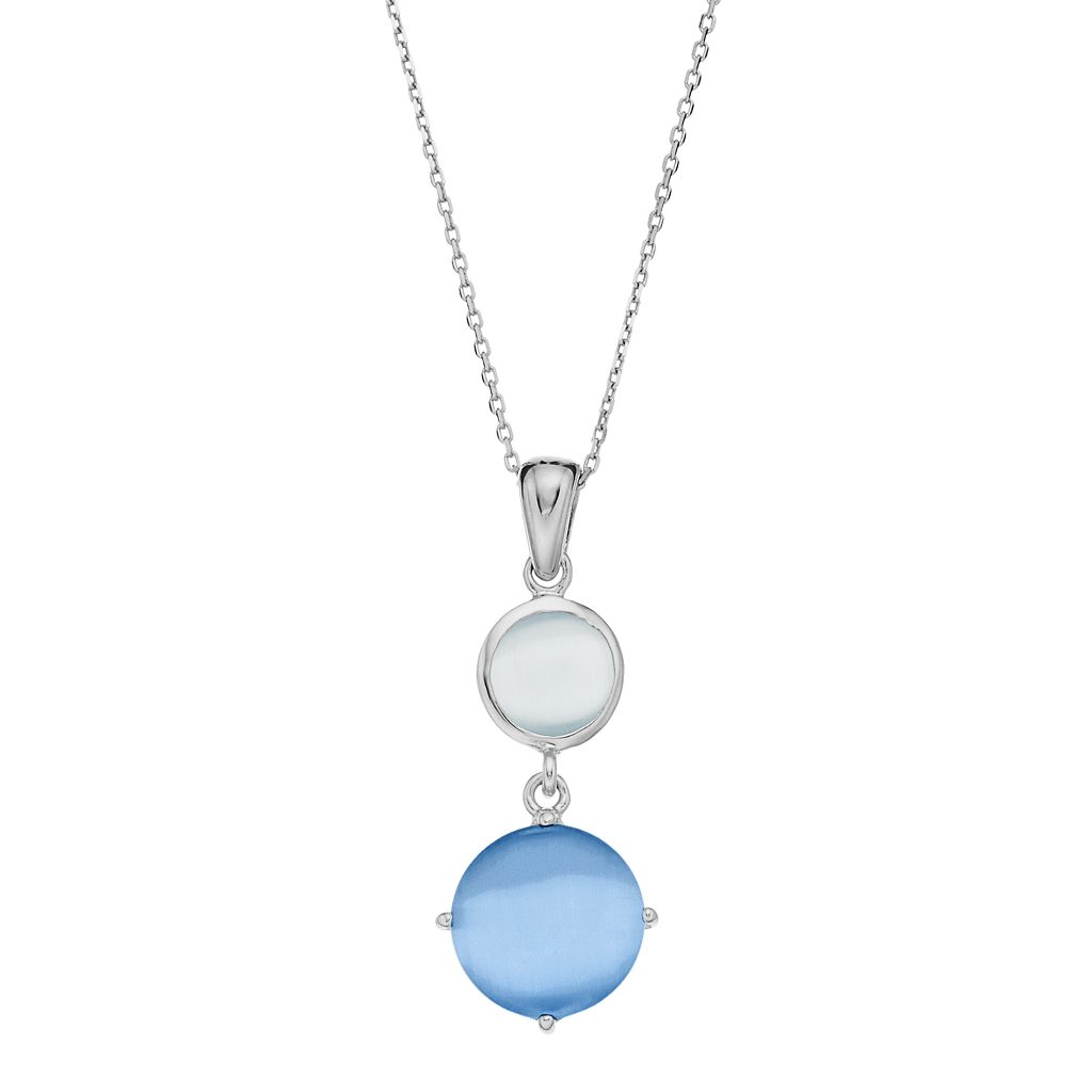 Sterling Silver Lab-Created Blue & Gray Cat's-Eye Pendant Necklace