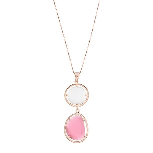 14k Rose Gold Over Silver Lab-Created Red & White Cat's-Eye Pendant Necklace