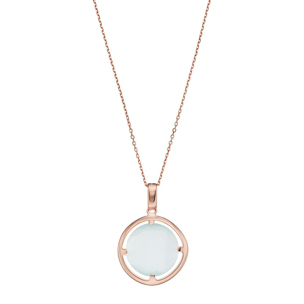 14k Rose Gold Over Silver Lab-Created Blue Cat's-Eye Circle Pendant