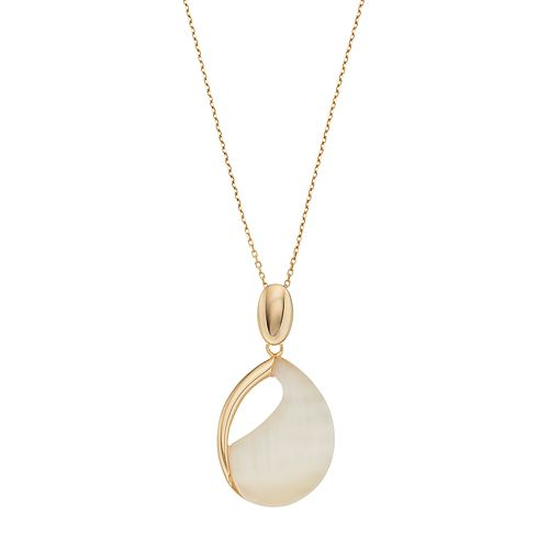 14k Gold Over Silver Lab-Created Yellow Cat's-Eye Cabochon Teardrop Pendant