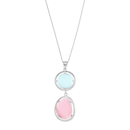 Sterling Silver Lab-Created Blue & Pink Cat's-Eye Pendant Necklace