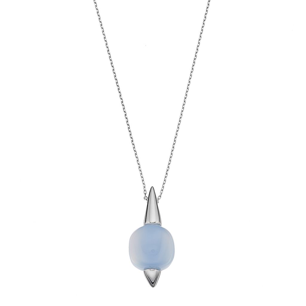 Sterling Silver Blue Chalcedony Cabochon Pendant