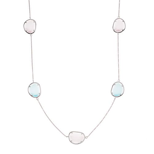 Sterling Silver Lab-Created Blue & Pink Cat's-Eye Long Necklace