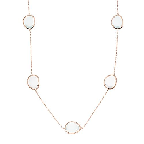 14k Rose Gold Over Silver Lab-Created White Cat's-Eye Long Necklace