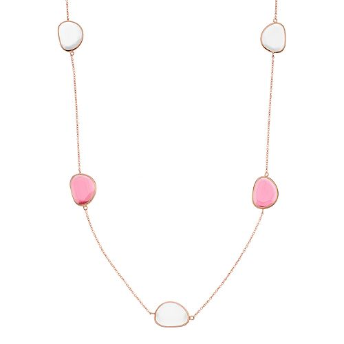 14k Rose Gold Over Silver Lab-Created Red & White Cat's-Eye Long Necklace