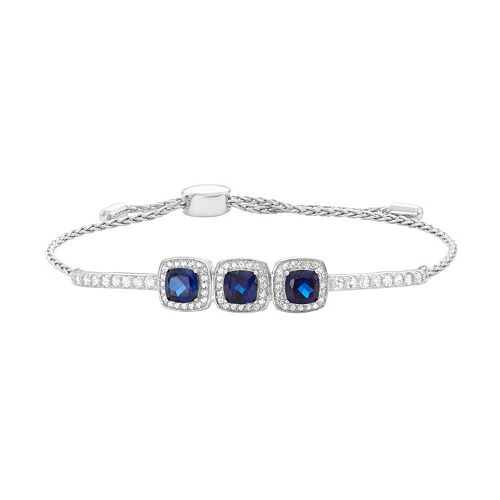 Sterling Silver Lab-Created Blue & White Sapphire Cushion Halo Lariat Bracelet