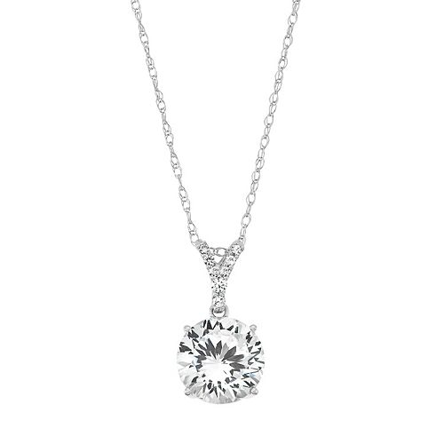 100 Facets of Love Sterling Silver Lab-Created White Sapphire Pendant