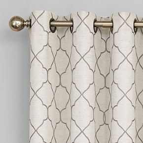 Regent Court 1-Panel Embroidered Lattice Window Curtain